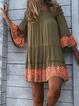 Off Shoulder Deep Green Women Dresses Shift Daily Cotton-Blend Tribal Dresses