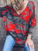 Color-Block Abstract Cotton-Blend Boho Shirts Tops