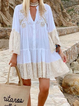 White Women Dresses Shift Daily Cotton-Blend Tribal Dresses