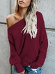 Knitted Long Sleeve Plain Shirts & Tops