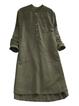 Shift Women Daytime Linen Long Sleeve Casual Buttoned Casual Dress