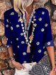 Navy Floral 3/4 Sleeve V Neck Shirts & Tops