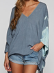 Grey-Blue Long Sleeve Casual Shirts & Tops