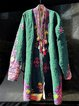 Plus Size Floral V Neck Long Sleeve Casual Outerwear