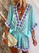 V Neck Blue Women Dresses Shift Daily Printed Tribal Dresses