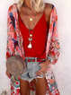 Red Floral Casual Long Sleeve Chiffon Outerwear