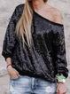 Black Solid Off Shoulder Casual Shirts Tops