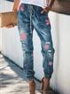 Blue Denim Floral-Print Vintage Floral Pants