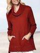 Winter Heavyweight Cowl Neck Plain Long Sleeve Sweater