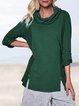 Cowl Neck Daytime Long Sleeve Plain Vintage Shirts