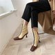 Stylish Color Block Genuine Leather Square Toe Kitten Heel Boots