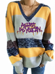 Yellow V Neck Knitted Long Sleeve Shirts Tops