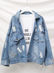 Blue Shirt Collar Denim Holiday Animal Outerwear