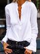 White Casual V Neck Shirts Tops