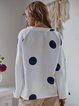 Women Polka Dots Blouses Long Sleeve Printed Casual Plain Blouses