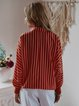 Women Plus Size Spring Tops Long Sleeve Casual Daily V Neck Polyester Printed Stripes