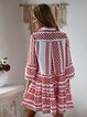 V neck  Swing Women Daily Cotton Bell Sleeve Printed Tribal Summer Dress