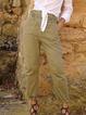 Deep Green Solid Pockets Vintage Pants