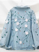 Blue Floral Floral-Print Long Sleeve Shirt Collar Outerwear