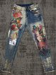 Women's  Casual  Abstract Printed Denim  Trousers