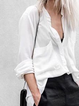 White Long Sleeve Pockets Shirts Tops