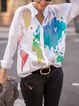 White Long Sleeve Cotton-Blend Shirts Tops