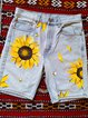 Plus Size Floral Print Women Denim Shorts