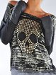 Women's  Casual Round Neck  Embellished  Long Sleeve T-Shirt & Tops