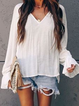 White Long Sleeve Solid Shirts Tops