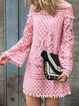 Crew Neck Pink Women Dresses Daily Dresses