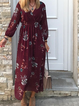 V Neck Red Women Dresses Floral-Print Dresses