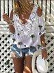 White Half Sleeve V Neck Cotton Shirts & Tops