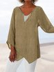 Plus Size Loose Linen Women Summer Blouses