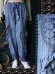 Blue Plain Paneled Cotton Vintage Pants
