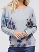 Gray Long Sleeve Abstract Printed Shirts Tops