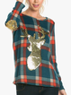 Blue Printed Cotton-Blend Long Sleeve Crew Neck Shirts Tops