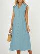 Lapel Women Midi Dresses A-Line Daily Vintage Cotton Dresses