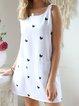Crew Neck Meow Print Cami Dresses