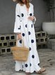 Women Polka Dots Maxi Dresses Shift Daily Boho Printed Dresses
