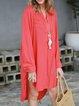 Stand Collar Women Summer Chiffon Shirt Dresses