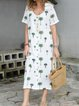 Floral Shirt Collar Women Summer Dresses Beach Floral-Print  Dresses