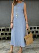 Casual Shirt Dress Linen Daily Crew Neck Sleeveless Paneled Striped Crew Neck Dresses