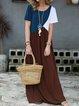 Crew Neck Women Summer Dresses Beach Casual Leather-Paneled Dresses