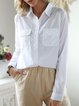 Long Sleeve Pockets Chiffon Plain Shirts