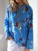 Floral Long Sleeve V neck Cotton Blouse