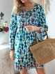 V neck Blue A-line Women Daily Long Sleeve Statement Cotton Paneled Solid Spring Dress