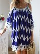 Crew Neck Women Summer Dresses Shift Fringed Paneled Dresses
