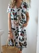 V Neck Women Dresses Shift Daily Floral Dresses