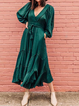 V Neck Deep Green Women Dresses Daily Vintage Dresses