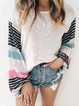 White Stripes Printed Long Sleeve Shirts Tops
